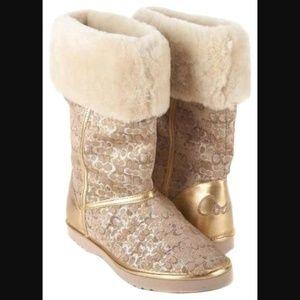 Coach Gold silver Nikole signature Winter boots